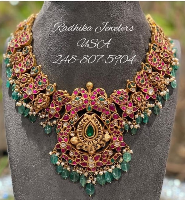 Peacock Choker by Radhika Jewellers