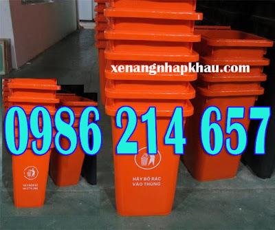 Thùng rác 120 lít màu cam, thùng rác 240 lít
