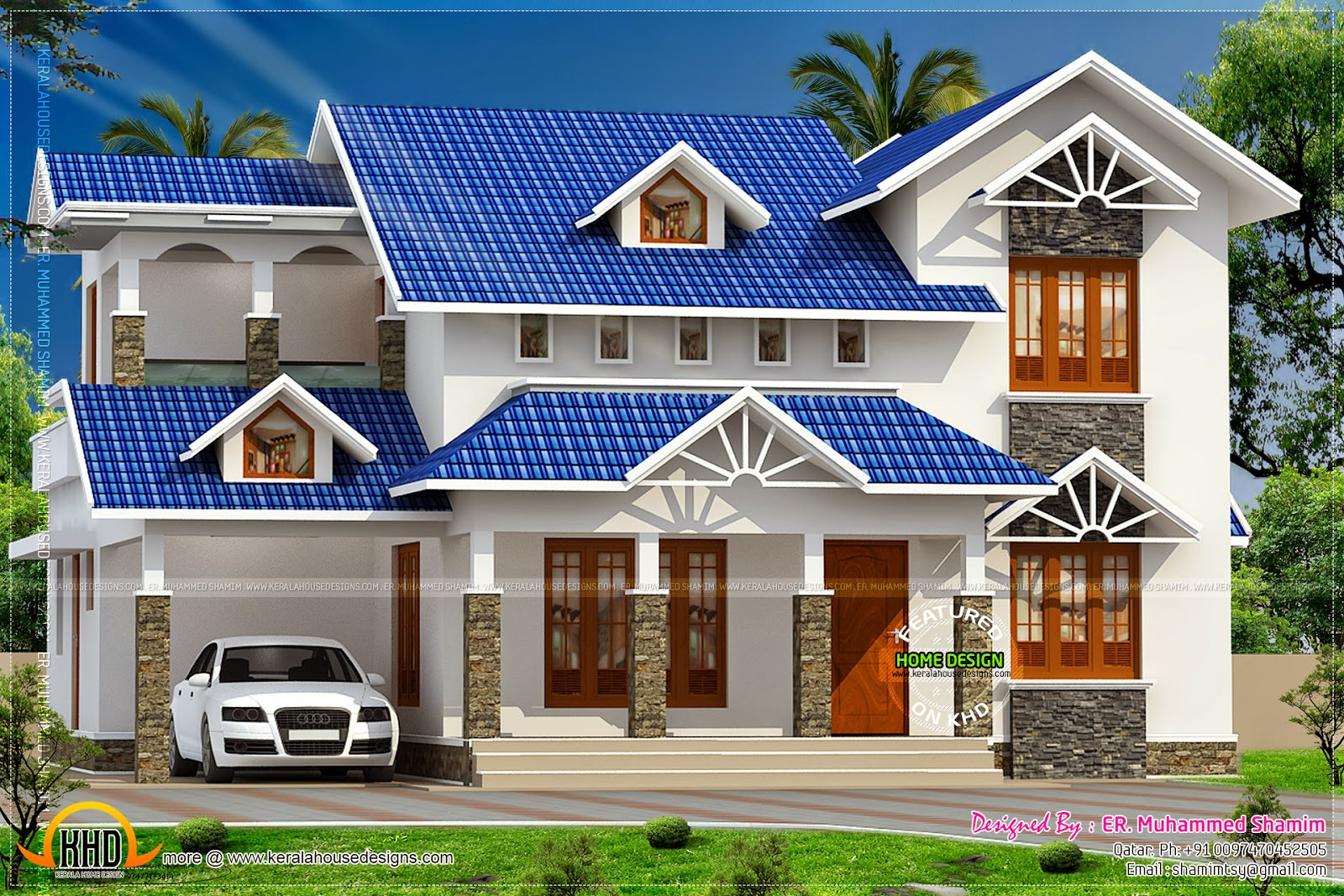 Nice sloped roof kerala home design kerala home design for Simple roof design house plans