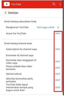 setelan email youtube