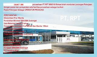 Lowongan Operator Produksi di kawasan MM2100 Bekasi untuk lulusan SMA SMK - PT RPT (Resin Plating Technology) Membuka Loker Terbaru - Proses pelamaran kerja Via Email.
