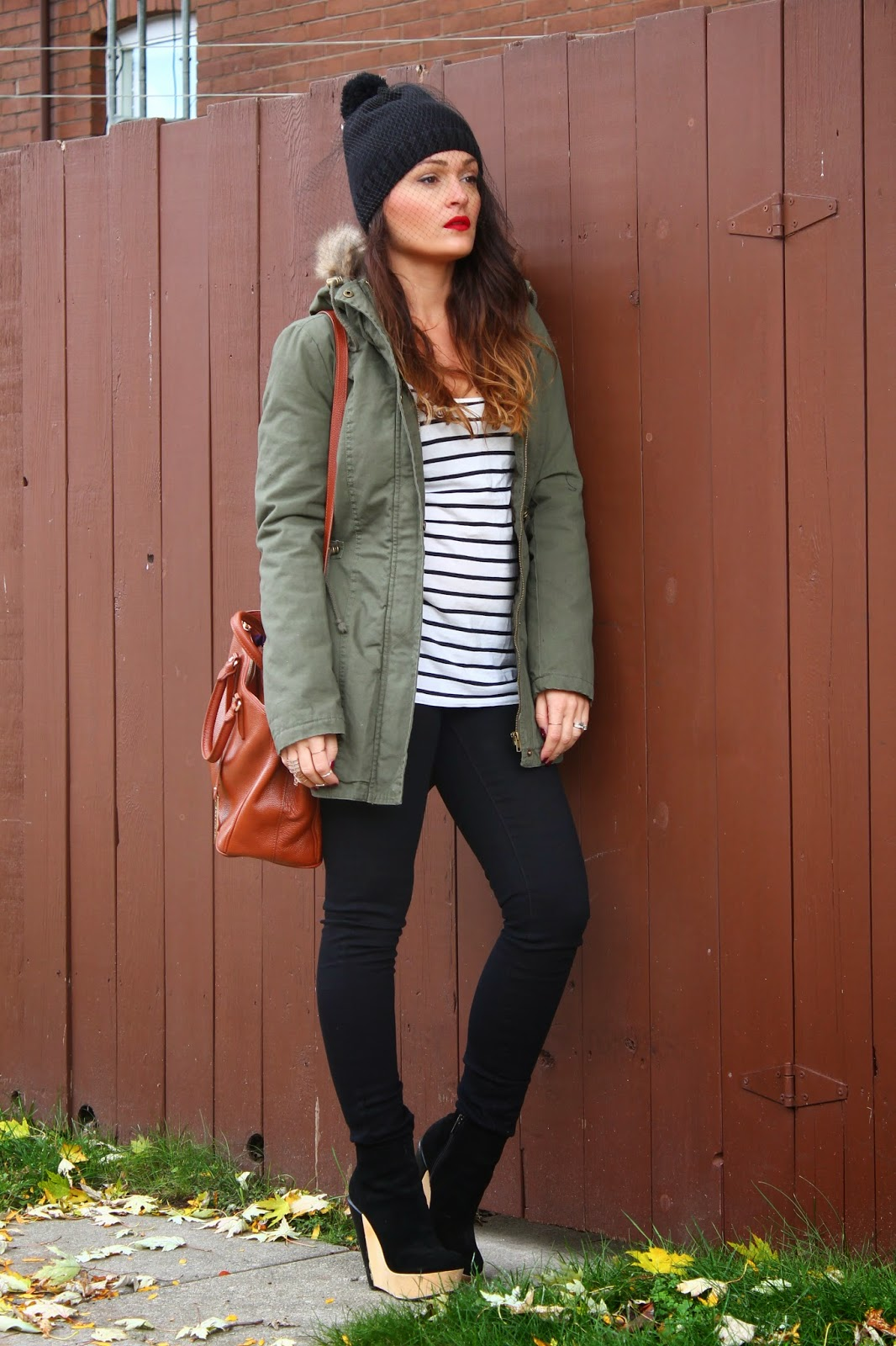 uk blogger, mesh veil hat, parka, fall outfit, how to style a parka, military green and stripes, toronto street style, toronto fashion blogger, top blogger, blogerke, jesenja moda