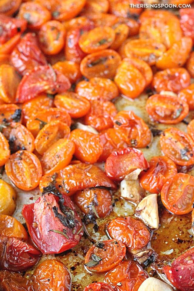 Easy Roasted Tomatoes with Herbs & Garlic (Gluten-Free, Grain-Free & Vegan)