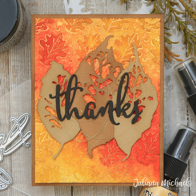 Thanks Card by Juliana Michaels featuring Scrapbook.com Oak Leaves Stencil and Distress Texture Paste