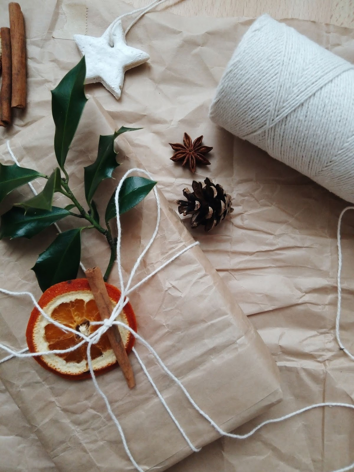Gift wrapped with brown paper and natural add ons