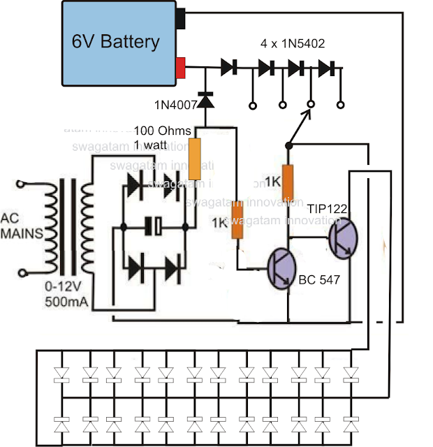20 LED Emergency Light circuit