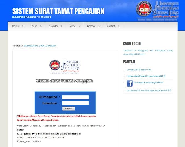 Gen Upsi Sistem Surat Tamat Pengajian Di Upsi