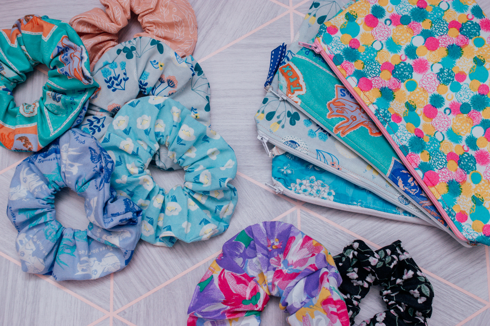 Scrunchies and pouches laid out flat