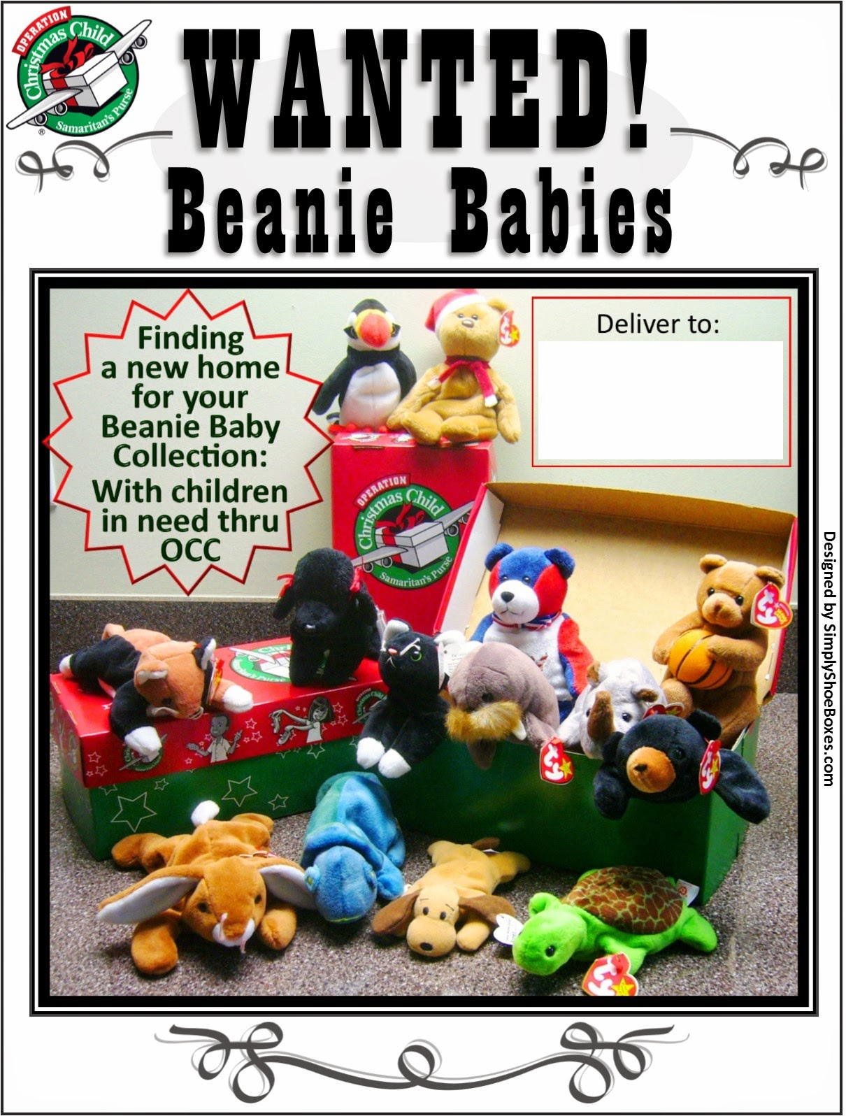 Operation Christmas Child Wanted Beanie Babies Poster