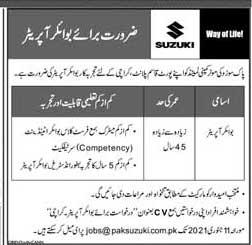 Pak Suzuki Motor Company Limited Jobs 2021 Advertisement