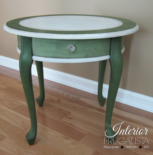 Curbside Queen Anne Table Crackled Milk Paint