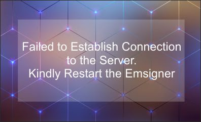 Failed to Establish Connection to the Server. Kindly Restart the Emsigner