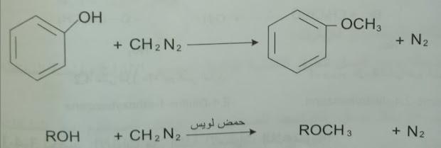 تفاعل الاغوال أو الفينولات مع الديازوميتان