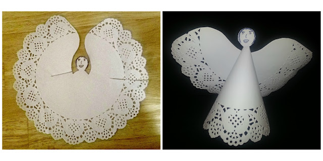 Pictorial instructions for making a paper angel out of a doily