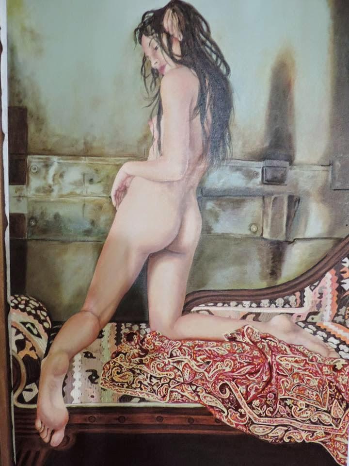 Desnudo femenino, Jorge Marín pintores Colombianos, Artistas Colombianos