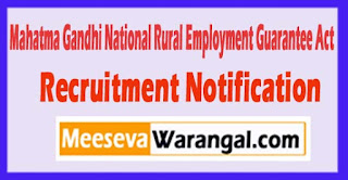 MGNREGA Mahatma Gandhi National Rural Employment Guarantee Act Recruitment Notification 2017 Last Date 15-05-2017