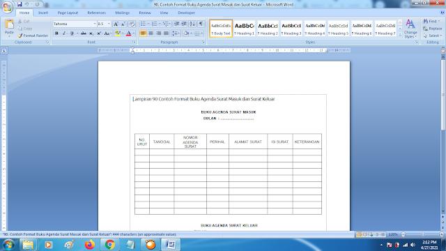 Contoh Format Buku Agenda Surat Masuk dan Surat Keluar