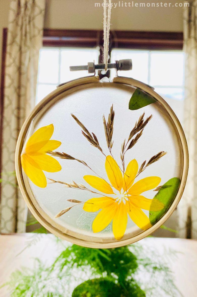 Sunflower suncatcher nature craft for kids