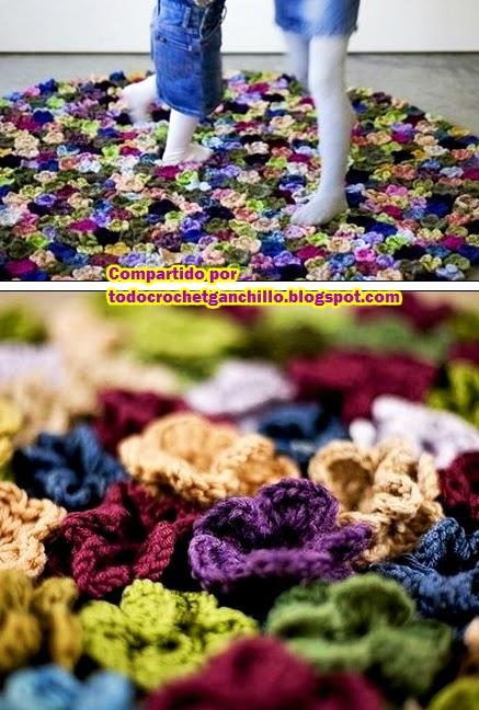 Alfombra jard n de flores todo crochet for Todo alfombras