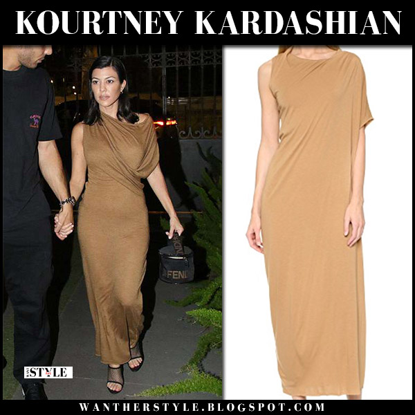 Kourtney Kardashian in beige draped maxi dress rick owens june 20