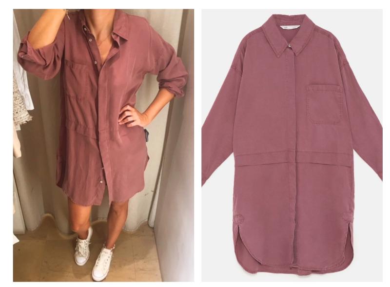 outfit zara nueva colección otoño vestido camisero oversize rosa palo morado sneakers converse blancas