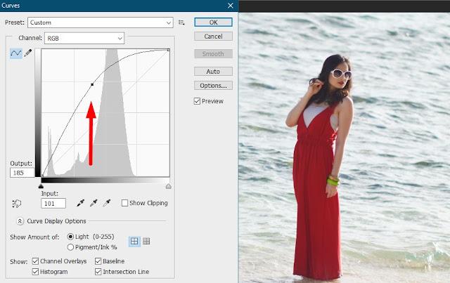 mencerahkan foto gelap di photoshop curve