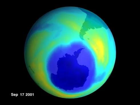Imagem do buraco na camada de ozônio