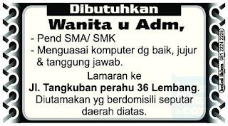 Lowongan Kerja Administrasi di Lembang