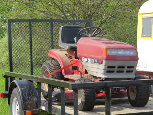 lawn tractor on a trailer