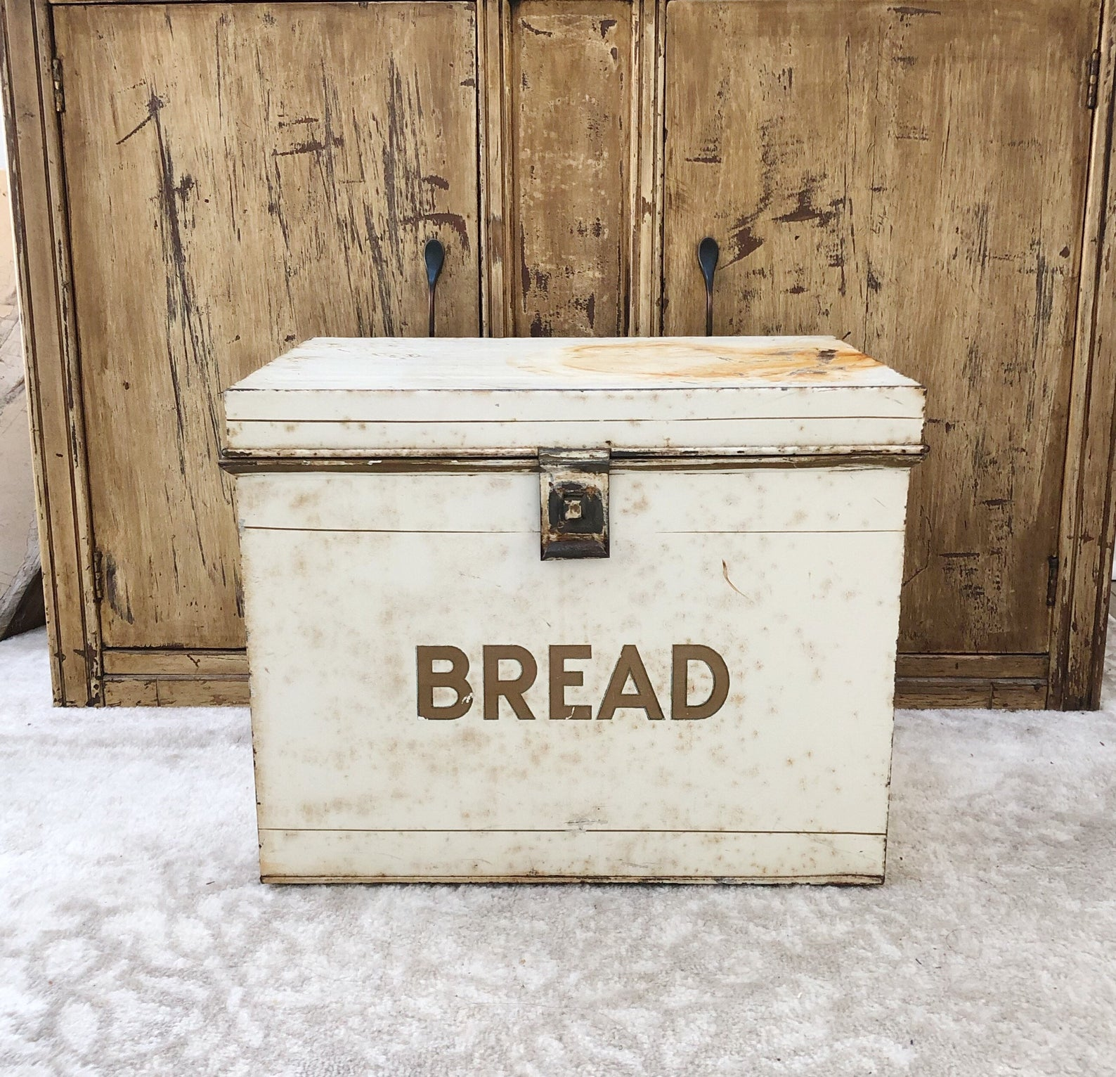 A vintage tin bread box is a rare find
