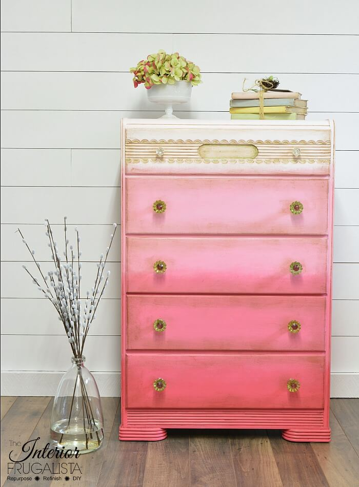 Pink Ombre Waterfall Dresser After