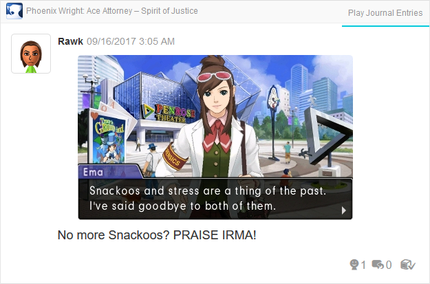 Phoenix Wright Ace Attorney Spirit of Justice Ema Skye snackoos thing of the past