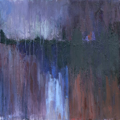 art acrylic abstract red blue violet texture knife