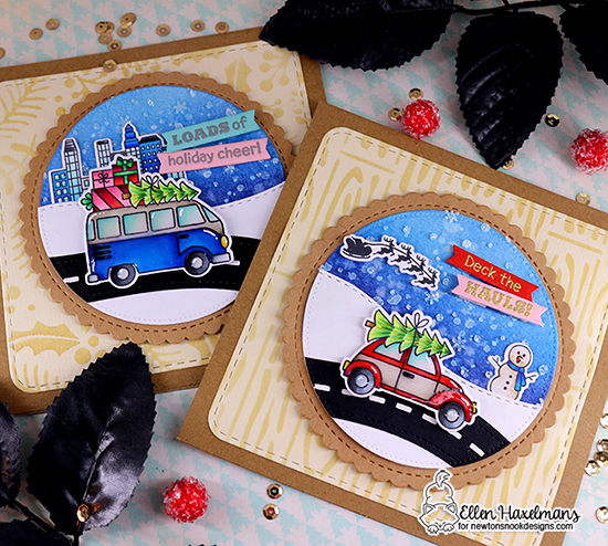 Car and van carrying Christmas trees cards by Ellen Haxelmans | Christmas Delivery Stamp Set, Snow Globe Scenes Stamp Set, Various Stencils and square and circle die sets by Newton's Nook Designs #newtonsnook #handmade