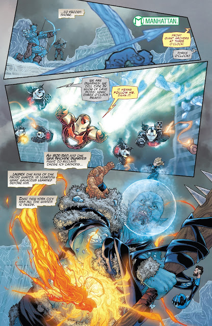 Ironman, dwarves in war-machine armor and fantastic four fighting Frost Giant of Jotunheim