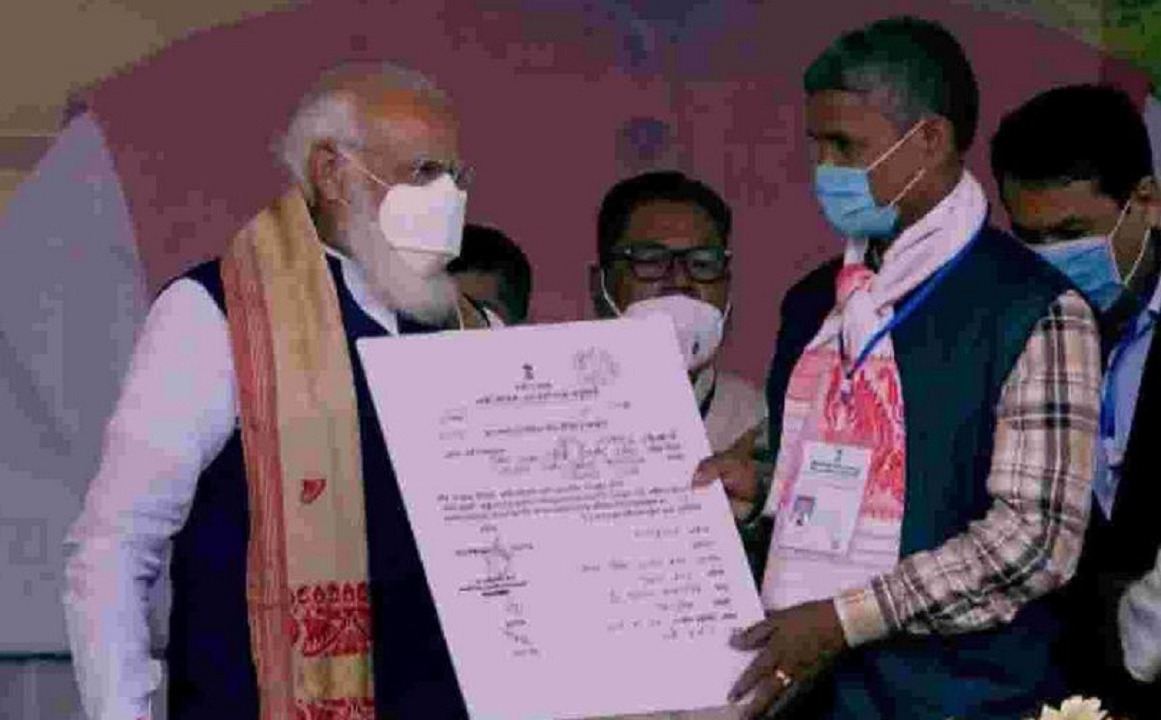 PM gives land certificates to 1 Lakh landless people in Assam