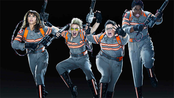 image of the cast of Ghostbusters in their suits, running and yelling