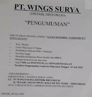 Bursa Kerja Surabaya di PT. Wings Surya Distrik Driyorejo Juli 2020