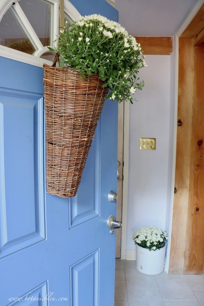 Front door with basket of white mums opens into a Fall blue and white cottage style small foyer