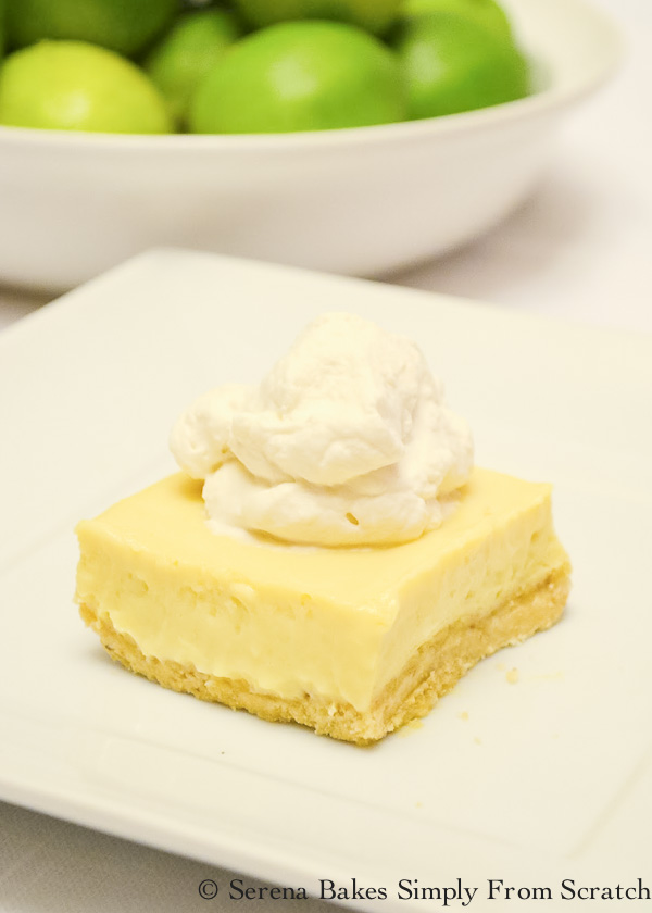 Key Lime Cheesecake Bars With Almond Cookie Crust is an easy dessert recipe from Serena Bakes Simply From Scratch.