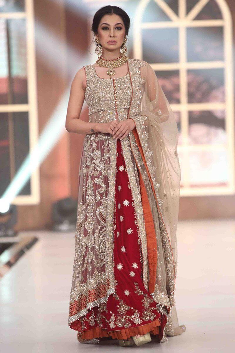 Sadaf Kanwal Wearing Rust Net Velvet Bridal Gown by Aisha Imran