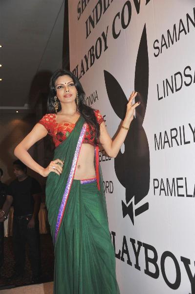 kohbar india: Sherlyn Chopra Dressed in Red Hot Saree