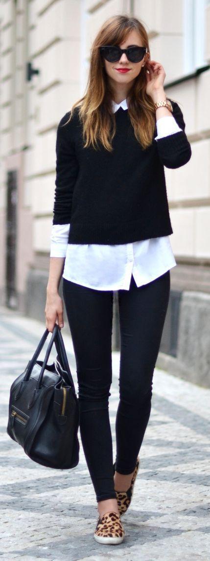 Black Sweater/Black Handbag/skinny black tights/ white shirt/sandles