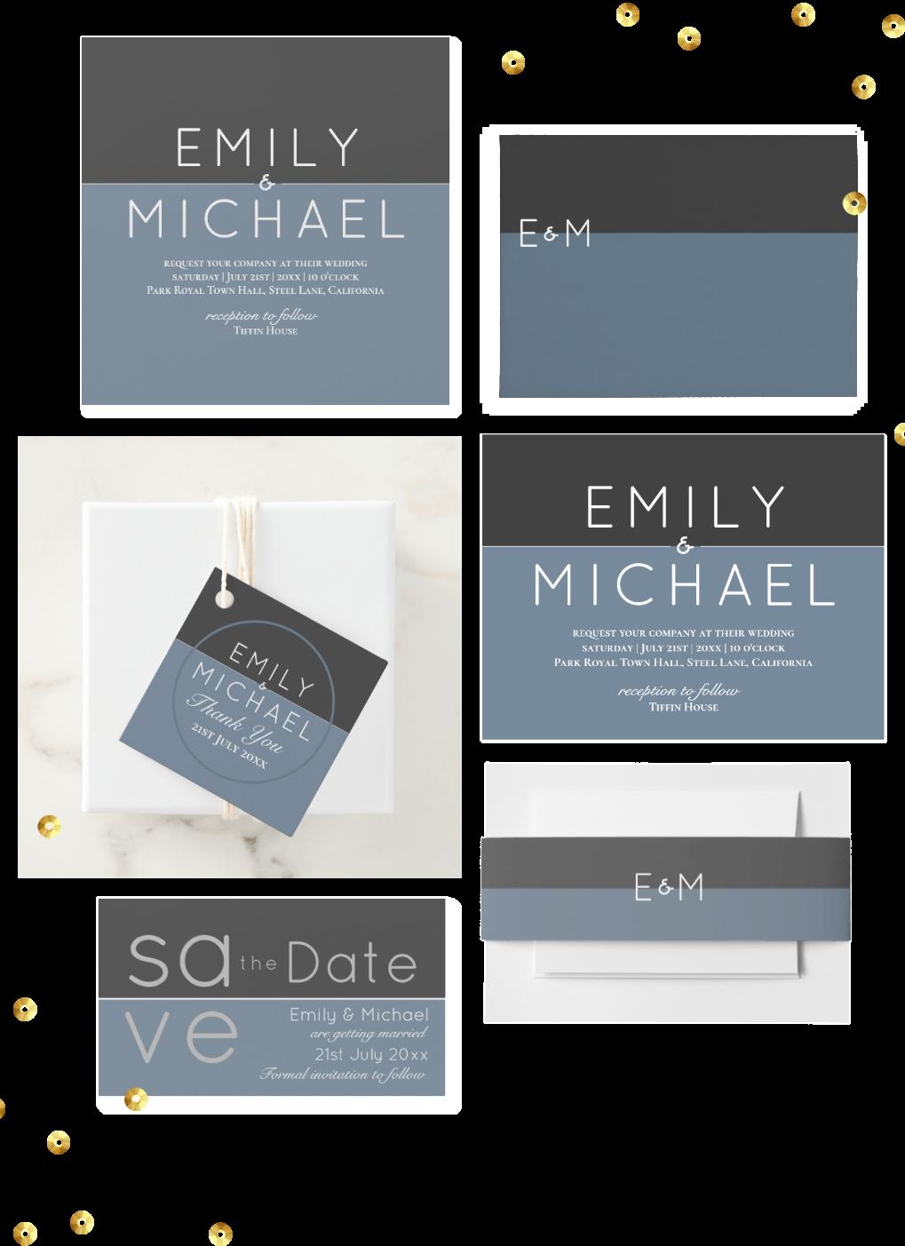 winter wedding invitations 2019 2020 steel navy blue white