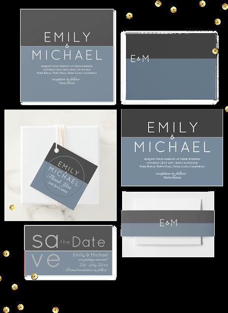 winter wedding invitations blue steel modern
