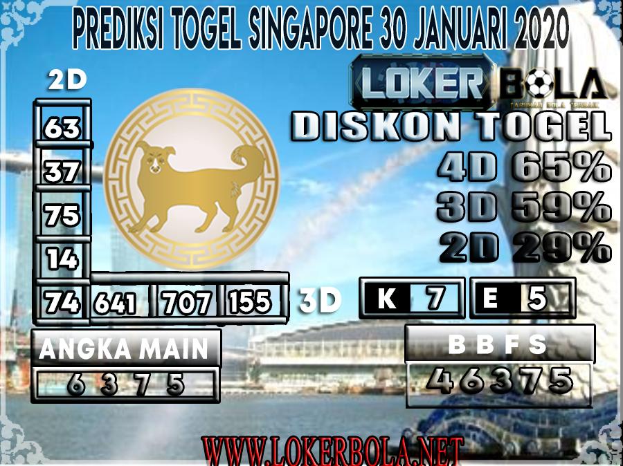 PREDIKSI TOGEL SINGAPORE LOKERBOLA 30 JANUARI 2020