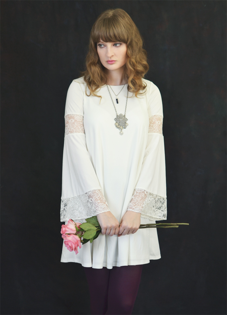 The Flying Clubhouse: Three Pink Roses   bell sleeve dress