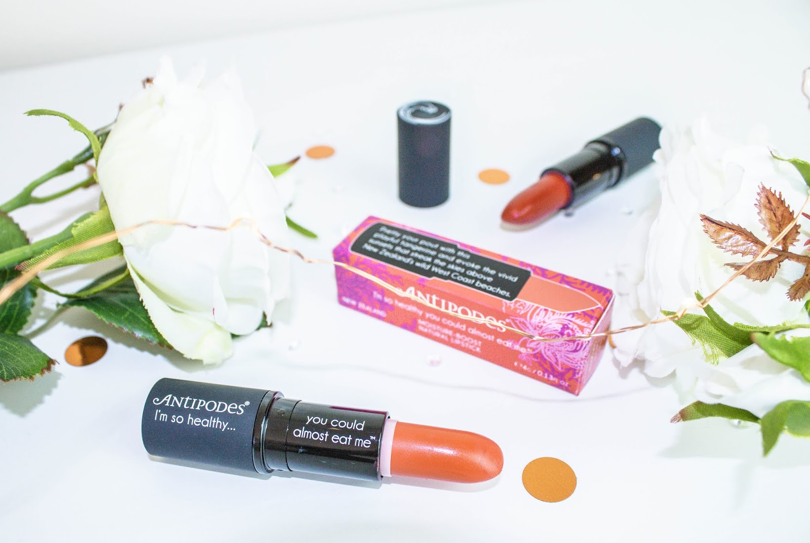 Antipodes Healthy Lipsticks Review Piha Beach Tangerine