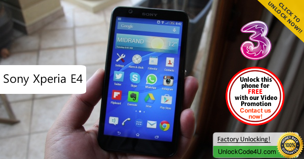 Factory Unlock Code Sony Xperia E4 from Three Network