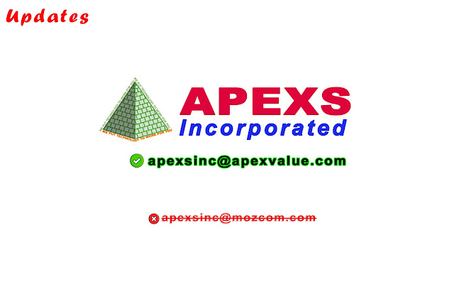 APEXS updated their email address into apexs, inc at apexvalue.com